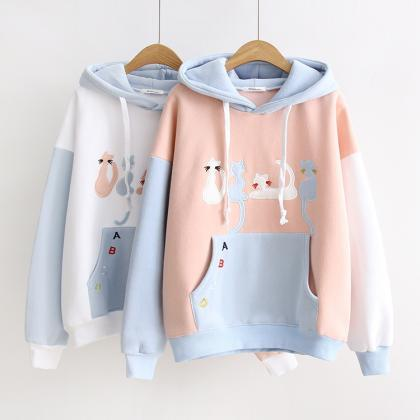 Women Cute Cat Embroidery Hit Color..