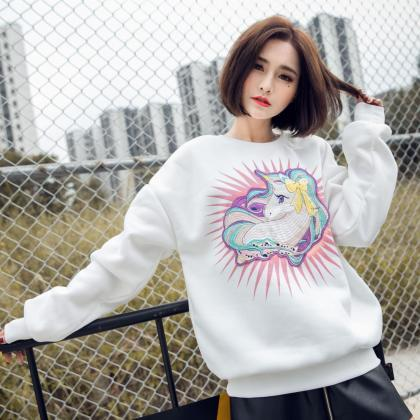Women Cute Unicorn Embroidery Sweat..