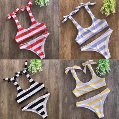 Women Cute Stripe Bikini Sexy Bow S..