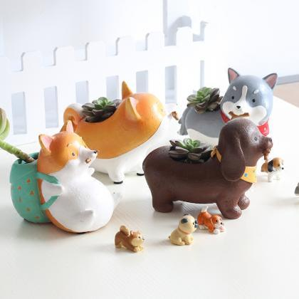 Cute Dog Resin Planters Vase Cute C..