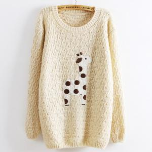 Beige Super Adorable Cartoon Giraffe Loose Pullovers Sweater
