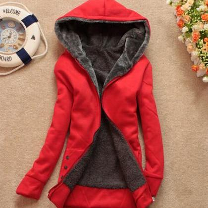 New Fashion Laconic Hooded Zipper D..