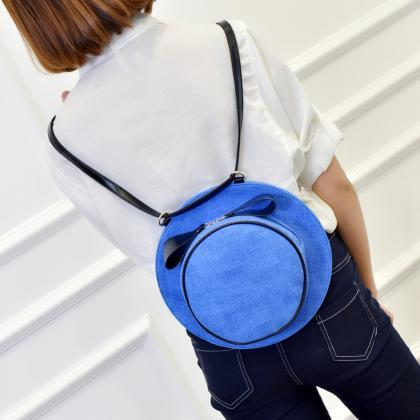 Flax Hat Backpack Personality Round..