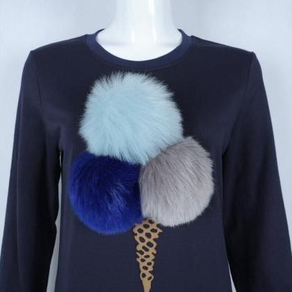 Navy Blue Women's Casual Ice Cream ..