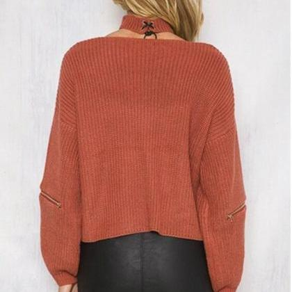 Brown Knitted Plunge V Sweater Feat..