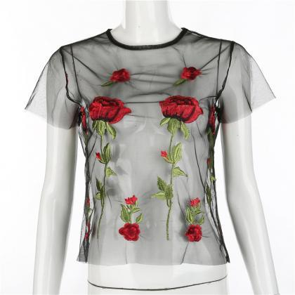 Sexy Rose Embroidery Round Neck Sho..
