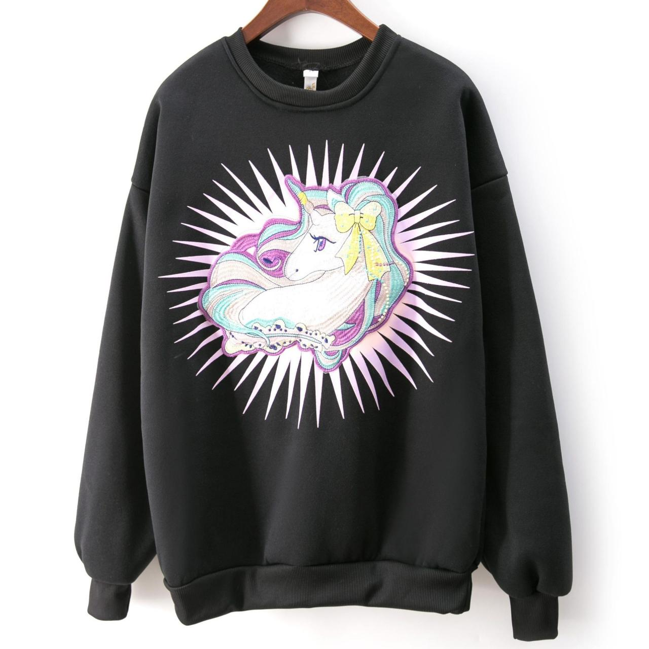 Women Cute Unicorn Embroidery Sweatshirt Fashion Loose Sweatshirt
