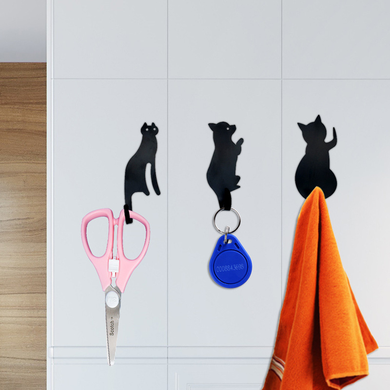 Creative Cartoon Cat Dog Metal Hooks Home Wall Hanging Animal Wall Decoration Cute Coat Seamless 3 Hooks