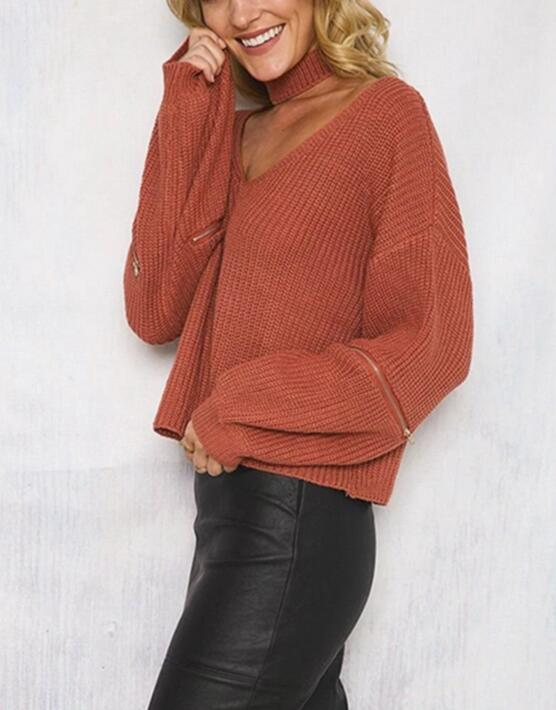 Brown Knitted Plunge V Sweater Featuring Choker and Zipper Detailing