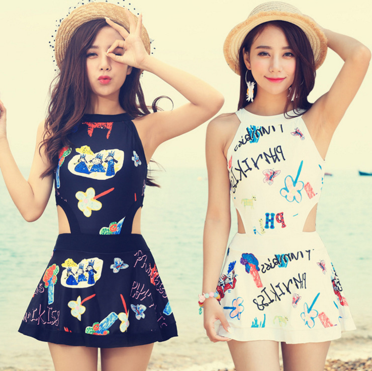 Lovely Women Girl Graffiti One-Piece Swimsuit Backless Push Up Swimwear Dress