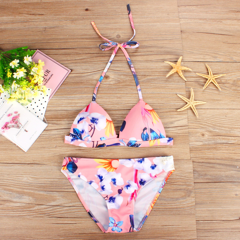 Women Sexy Flower Printing Bikini Push Up Beach Swimming Swimwear