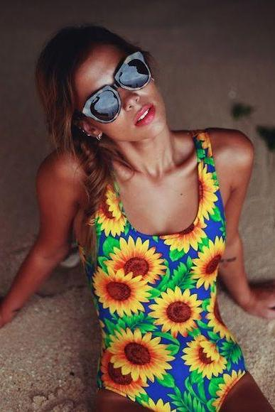Sexy Sunflower Print Side Cutout Floral Swimsuit Backless One-Piece Swimwear