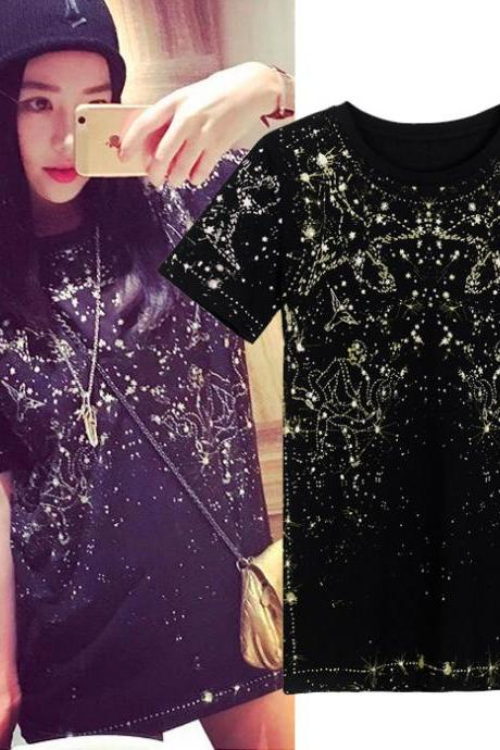Couple Sky Stars Constellation Printing Round Neck Lovers T-shirt