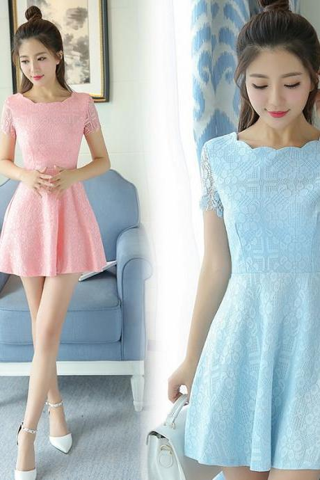 Women Sweet Lace Collar Pure Color Dress Wedding Bridesmaids Dress