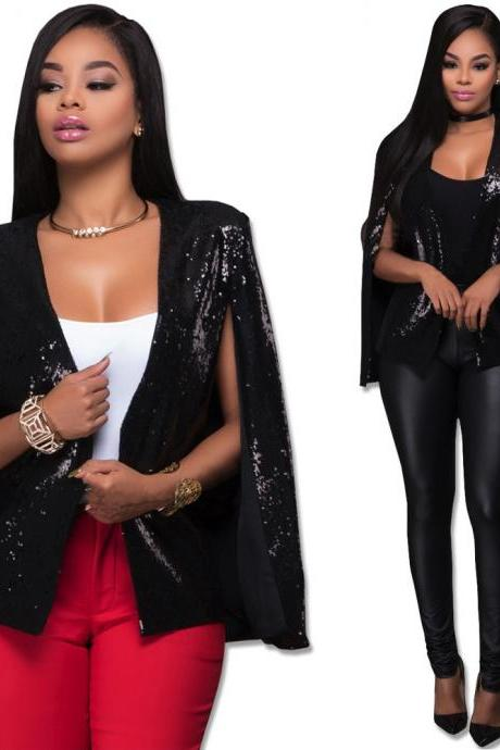 Women Fashion Sequins Cloak Coat Sexy Nightclub Blazer