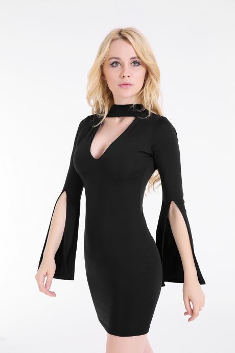 Sexy Deep V Halter Bodycon Trumpet Sleeves Dress Fashion Party Club Dress