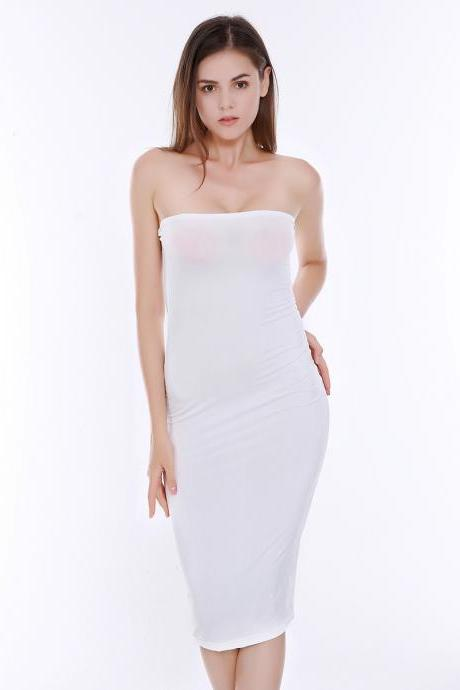 Sexy Strapless Solid Color Bodycon Dress Fashion Party Club Package Hip Dress