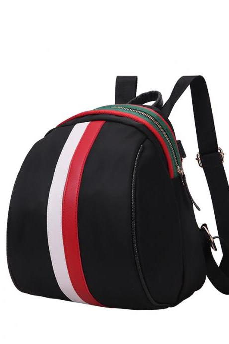 Women Fashion Waterproof Stripe Backpack Student Shoulder Bag Casual Backpack