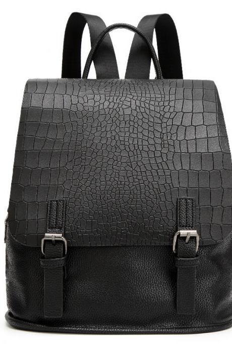 Women Fashion Crocodile Print PU Backpack Student Shoulder Bag Casual Backpack