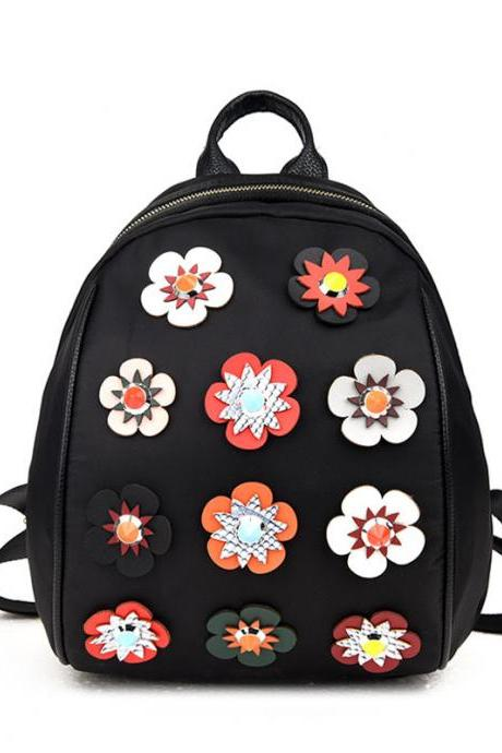 Black Kawaii Floral Badge Zipper Casual Backpack