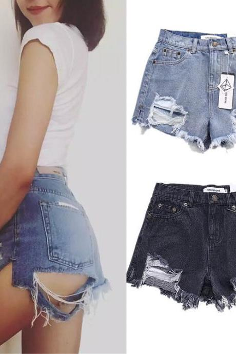 High Rise Heavily Distressed Denim Shorts Featuring Pockets