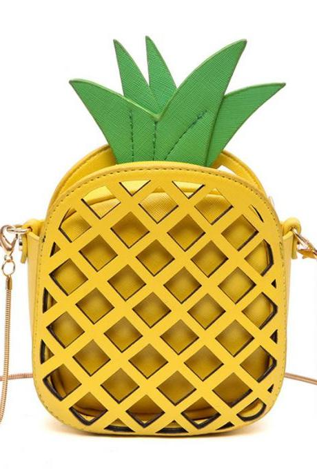 Pineapple Coin Purse Phone Package Chain Bag Fruit Shoulder Bag