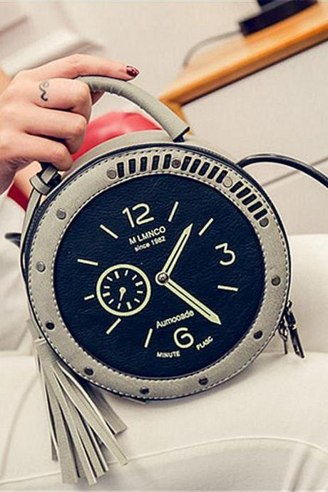 Women Fashion Alarm Clock Tassel Lovely Handbag Watch Shoulder Bags