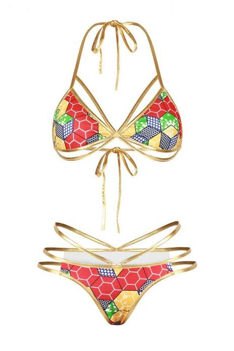 Sexy Golden Bandage Backless Printing Bikini Split Swimsuit Bathing Suit