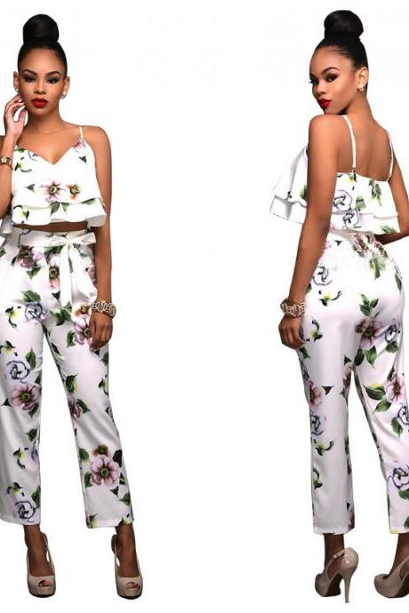 Women Fashion Floral Print Flounced Top + Lace Pants Two Pieces Set