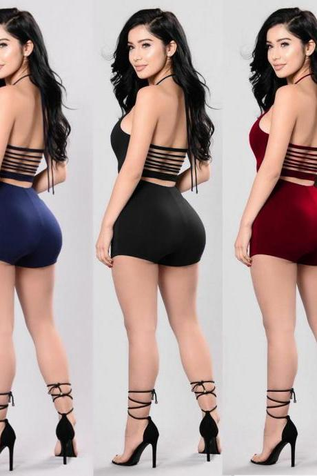 Women Sexy Halter Backless Bandage Jumpsuit Rompers Solid Color Bodycon Jumpsuit