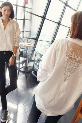 Women Lace Deep V Neck Shirt Loose White Blouse Shirt