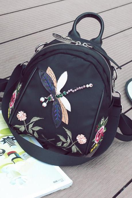 Women Fashion Embroidered Flowers Backpack Personality Crystal Dragonfly Shoulder Bag