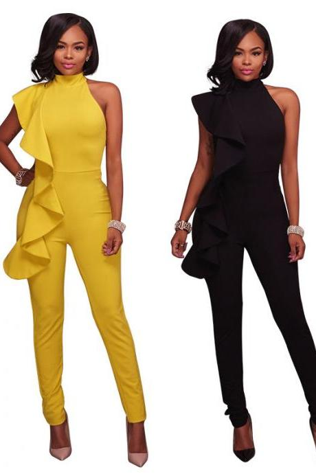 Women Sexy Flounced Pants Jumpsuit Elegant Office Rompers