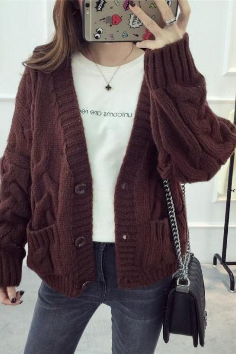Women Fashion Deep V Neck Loose Sweater Knitting Cardigan Sweater Coat