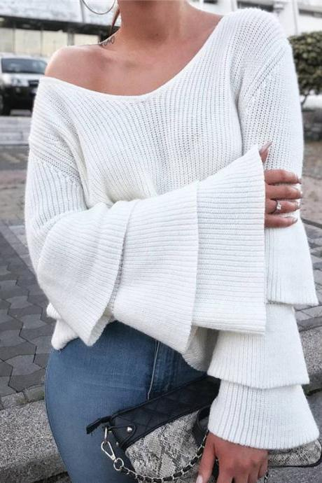 Women Sexy Deep V Neck Trumpet Sleeve Sweater Fashion Sweater