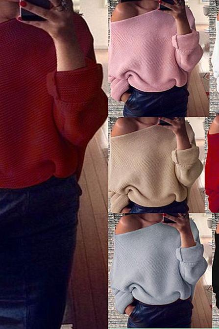 Women Sexy Off The Shoulder Bat Sleeve Loose Sweater Fashion Strapless Sweater