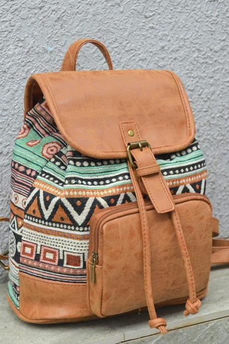 Bohemia PU Canvas Travel Backpack - Retro Aztec School Backpack