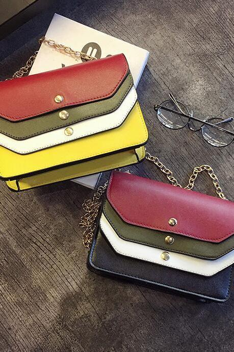 Women Hit Color Chain Bag Fashion PU Leather Shoulder Bag