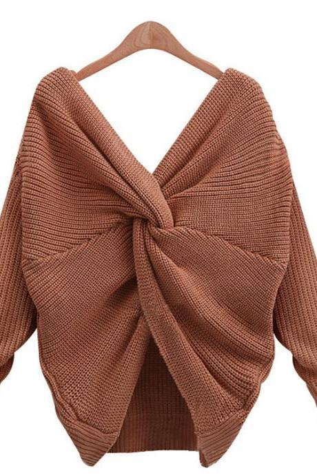 Women Sexy Deep V Neck Bow Tie Backless Sweater Fashion Loose Double-Sided Wear Sweater