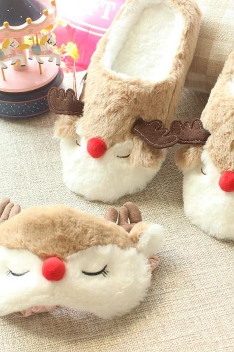 Women Cute Elk Plush Slippers Cartoon Deer Home Slippers
