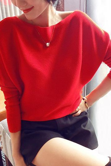 Women Fashion Bat Sleeves Irregular Sweater Casual Basic Loose Sweater