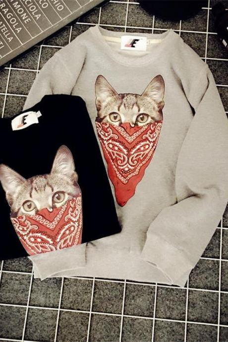 Fashion Couple Retro Cat Printing Round Collar Loose Lovers Sweatshirts
