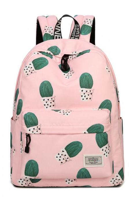 Women Lovely Plant Printing Canvas Backpack Student Shoulder Bag Pink Cartoon Backpack