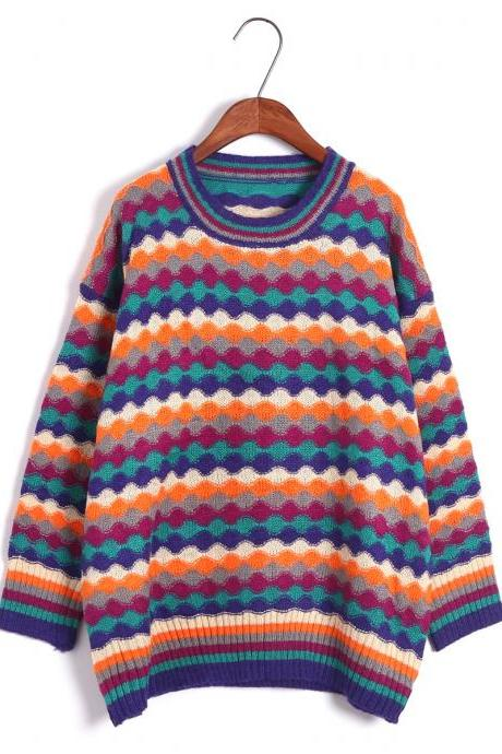 Women Rainbow Stripe Hit Color Loose Sweater Fashion Retro Bohemia Sweater
