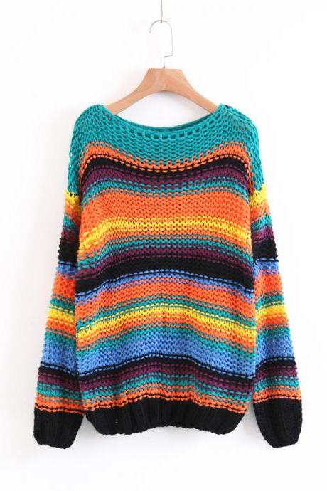 Women Fashion Retro Rainbow Stripe Hit Color Loose Sweater