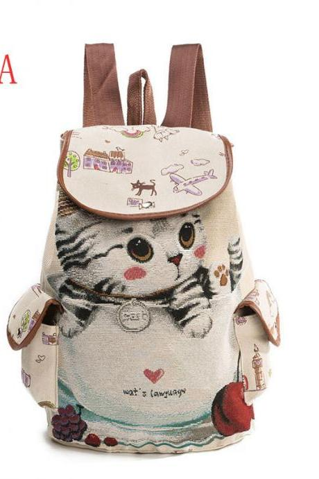 Cute Cat Canvas Backpack Embroidered High Capacity School Bag Fashion Student Backpack