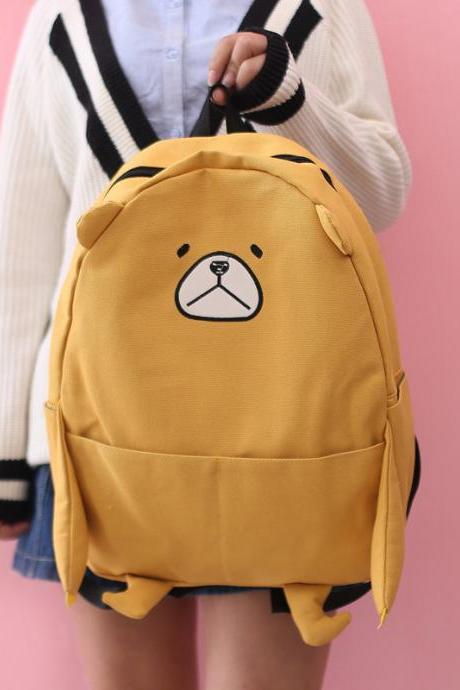 Cute Bear Canvas Backpack Animals Cartoon Student Bag Fashion High Capacity School Backpack