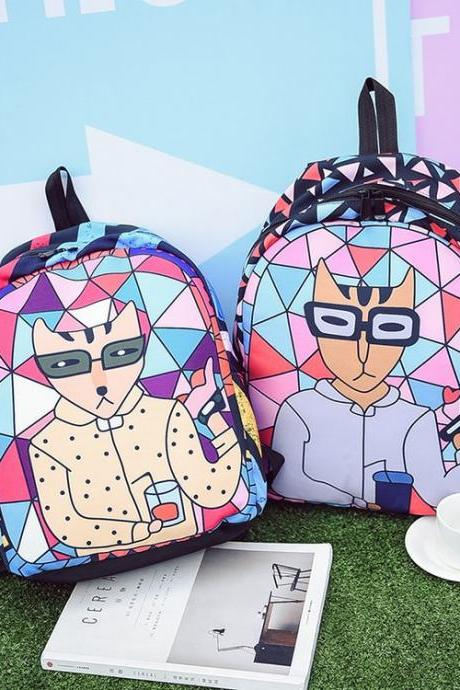 Fashion Cat Printing Canvas Backpack Cartoon Geometric Harajuku Student Bag High Capacity Personality School Backpack