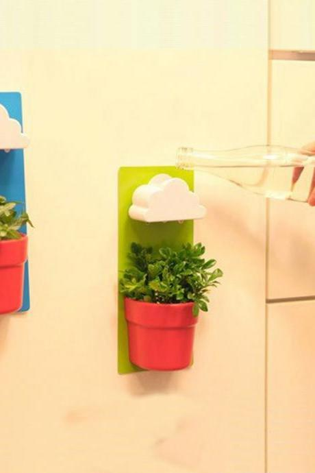 Rainy Pot Creative Wall Hanging Clouds flower Pot Fashion Home Office Plants Pot