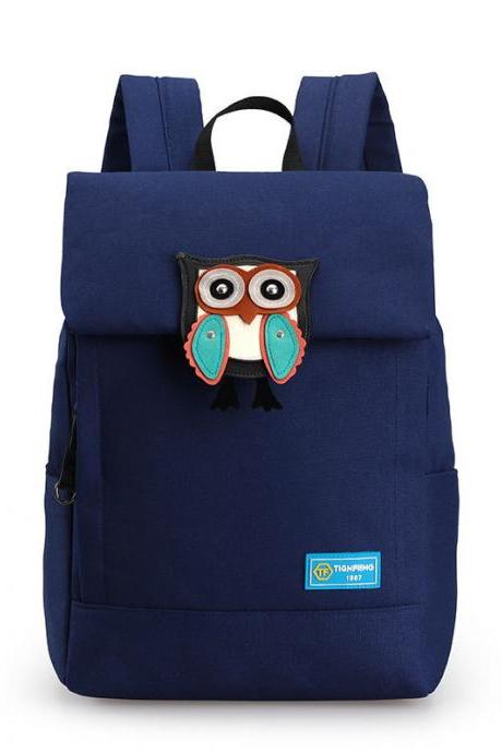 Owl Embroidery Canvas Backpack High Capacity Student Backpack Cartoon Travel Backpack
